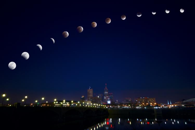Time-lapse photograph of Indianapolis skyline on the Lunar Eclipse of 2015.