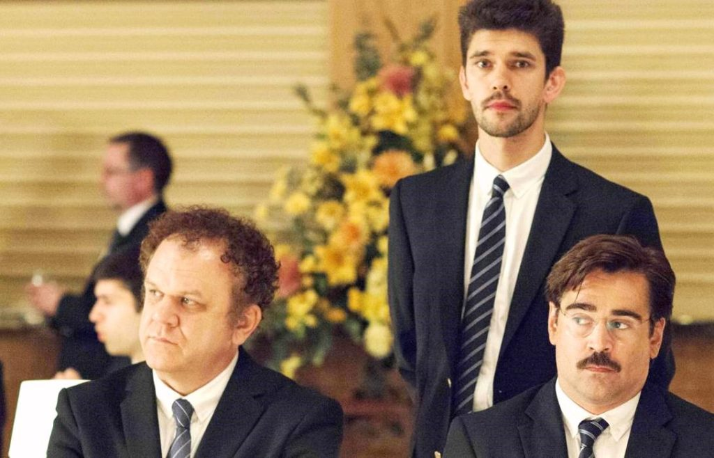 The men of THE LOBSTER: (L-R) John C. Reilly, Ben Whishaw, and Colin Farrell.