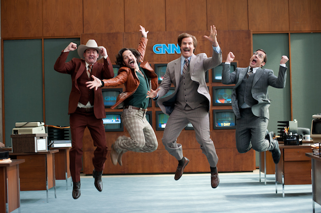 (Left to right) David Koechner is Champ Kind, Paul Rudd is Brian Fantana, Will Ferrell is Ron Burgundy and Steve Carell is Brick Tamland in ANCHORMAN 2: THE LEGEND CONTINUES to be released by Paramount Pictures. A2-09027
