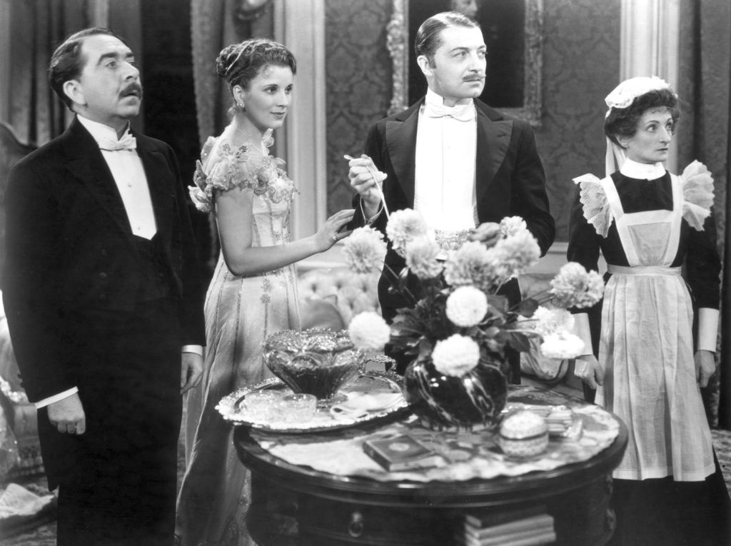 "from left to right: Herbert Mundin as ""Alfred Bridges"", Diana Wynward as ""Jane Marryot"", Clive Brook as ""Robert Marryot"", and Una OConnor as ""Ellen Bridges"""