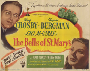 """Bing and Bergman looking a bit less than priest- and nun-like, respectively, in this vaguely holiday-tinged poster… """"Bing sings five songs!"""""""