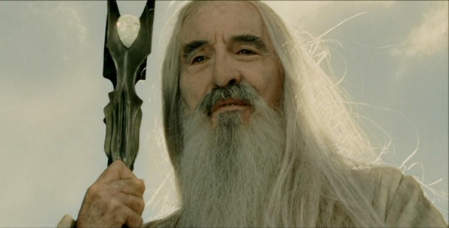 Lee as Saruman in Peter Jackson's Middle Earth films.