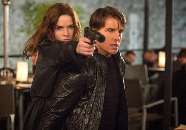 """Rebecca Ferguson and Tom Cruise in """"Mission: Impossible – Rogue Nation"""""""