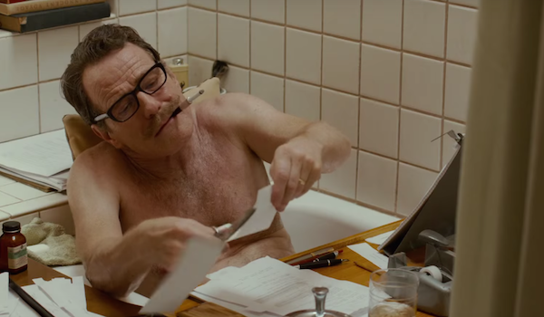 Cranston as Trumbo in his natural habitat – the bathtub.