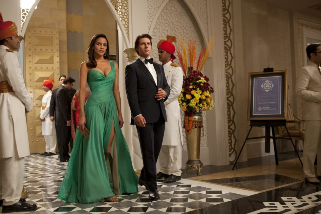 "Paula Patton and Tom Cruise in ""Mission: Impossible – Ghost Protocol""."