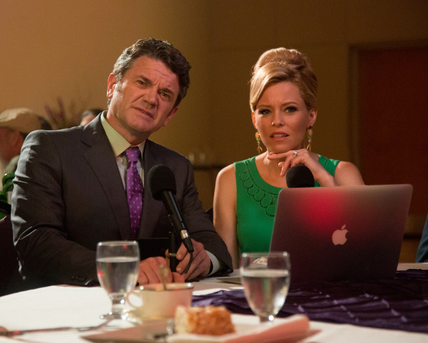 John Michael Higgins and Elizabeth Banks in PITCH PERFECT 2.