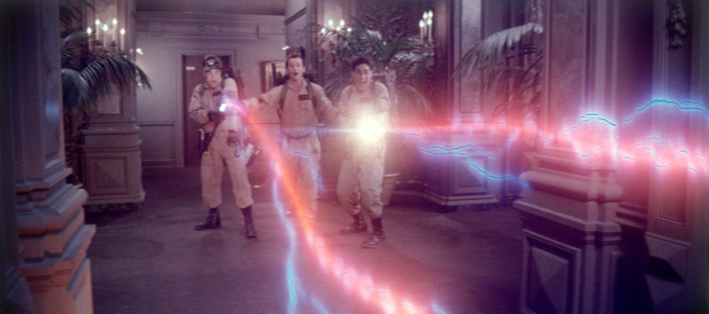 Dan Aykroyd, Bill Murray, and Harold Ramis bust some ghosts using 1980s special effects in Ghostbusters (1984)