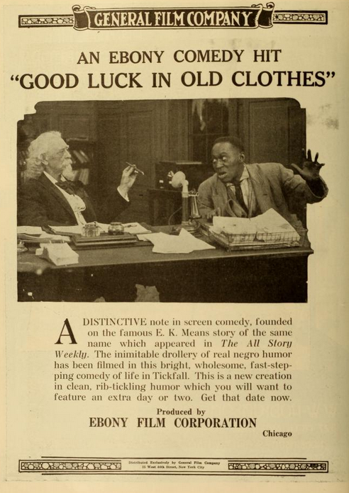 "Lobby card for another ""Ebony Film Corporation"" production. The Chicago-based company folded in the early '20s, but by then had produced hundreds of ""race film"" shorts."