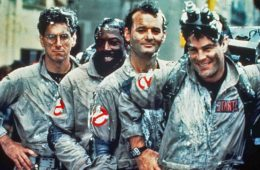 Harold Ramis, Ernie Hudson, Bill Murray, and Dan Aykroyd covered in the remains of the Stay Puft Marshmallow Man in Ghostbusters (1984)