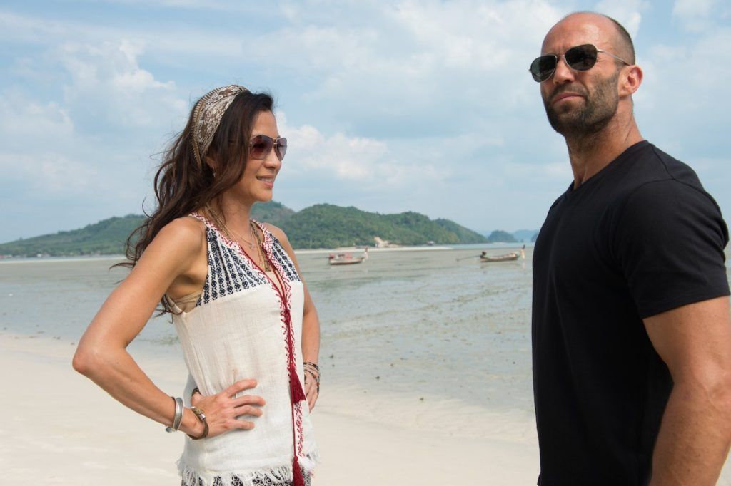 Michelle Yeoh and Statham in MECHANIC: RESURRECTION.