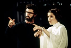 With George Lucas, making the original STAR WARS (1977)