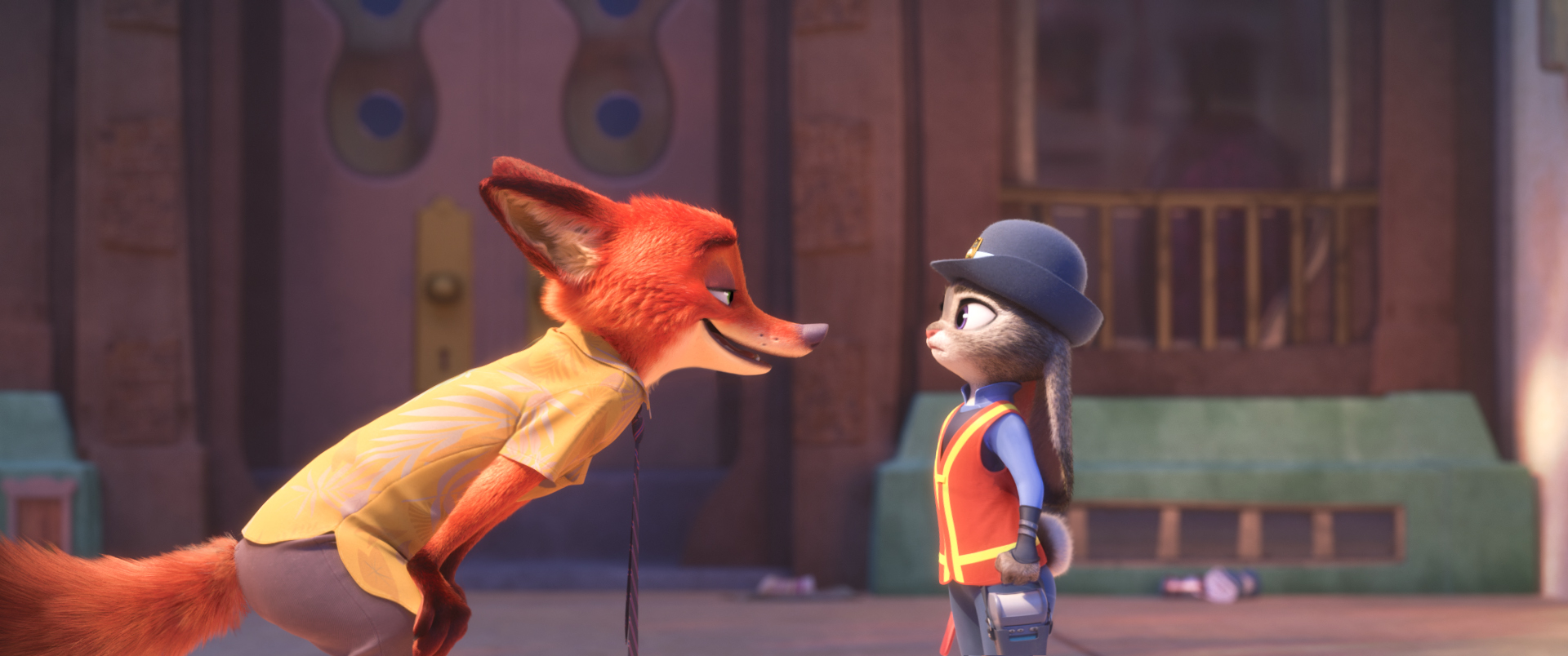 "NATURAL ENEMIES — Zootopia's first bunny officer Judy Hopps finds herself face to face with a fast-talking, scam-artist fox in Walt Disney Animation Studios' ""Zootopia."" Featuring the voices of Ginnifer Goodwin as Judy and Jason Bateman as Nick, ""Zootopia"" opens in theaters on March 4, 2016. ©2016 Disney. All Rights Reserved."