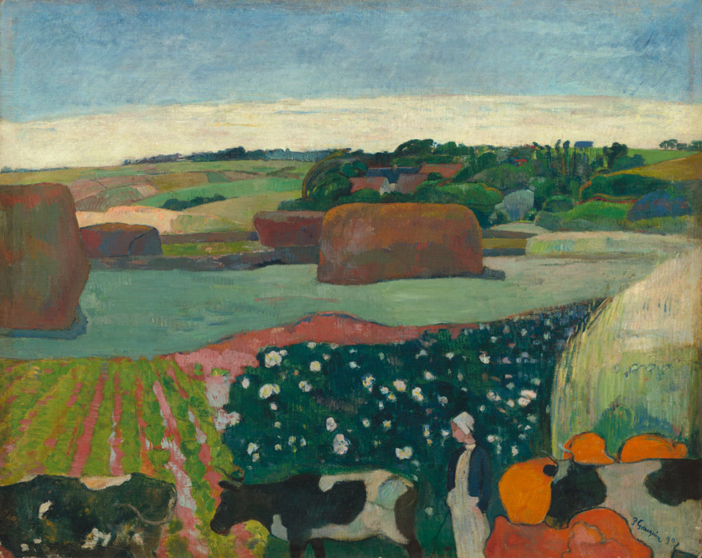 Paul Gauguin (French, 1848 - 1903 ), Haystacks in Brittany, 1890, oil on canvas, Gift of the W. Averell Harriman Foundation in memory of Marie N. Harriman