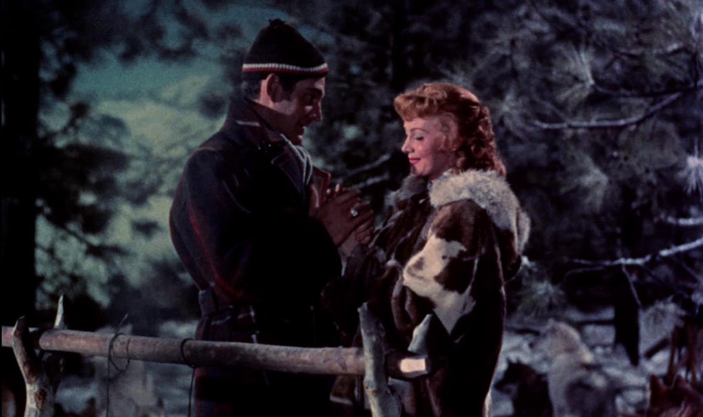 Gene Barry and Rhonda Fleming in Those Redheads From Seattle (1953)