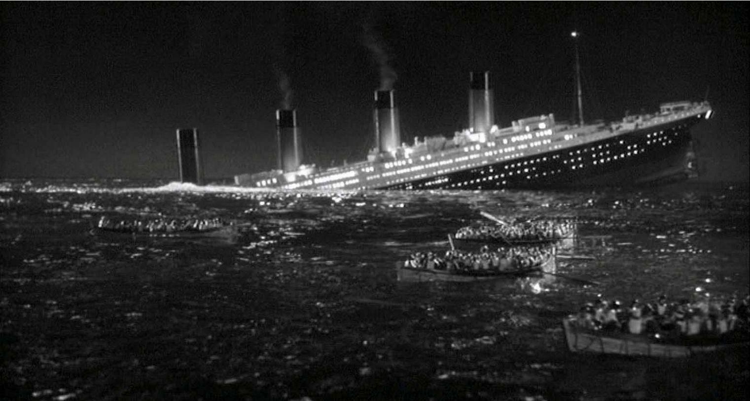 The RMS Titanic sinks in TITANIC (1943)